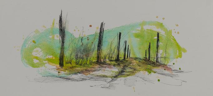 Der Weg Nr.3, 2014, 38x17, Aquarell/Bütten, N57                       ©Raimund Egbert-Giesen