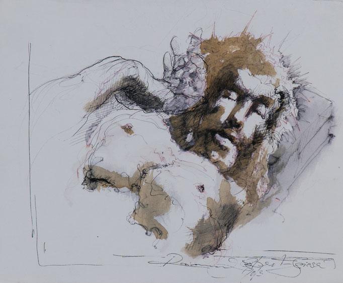 Jesus2, 2013, 37,5x30, Tusche/Papier, A7                            ©Raimund Egbert-Giesen