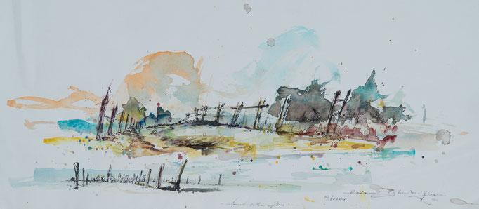 Landschaften, 2007, 77x26, Aquarell/Bütten, N28                       ©Raimund Egbert-Giesen