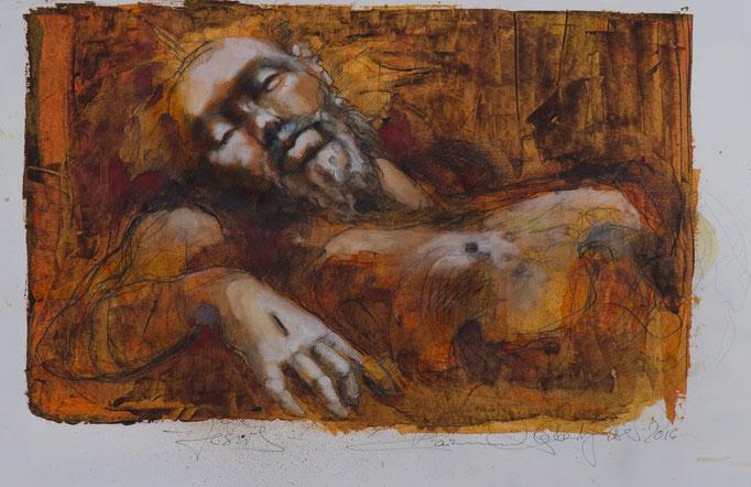 Jesus, 2016, 55x36, Mischtechnik/Papier, A6                            ©Raimund Egbert-Giesen
