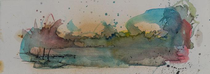 Der See, 2014, 53,5x19,5, Aquarell/Bütten, N44                       ©Raimund Egbert-Giesen