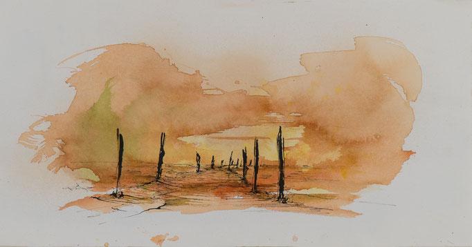Sonnenuntergang, 2015, 51x27, Aquarell/Bütten, N61                       ©Raimund Egbert-Giesen