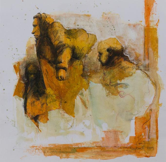 Furcht, 2017, 42x41,5, Mischtechnik/Papier, S5                       ©Raimund Egbert-Giesen