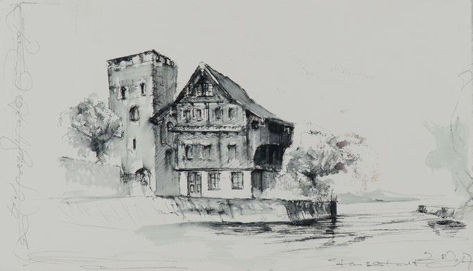 Stansstad, 2018, 45,5x26,5 , Fineliner/Bütten, N66                       ©Raimund Egbert-Giesen