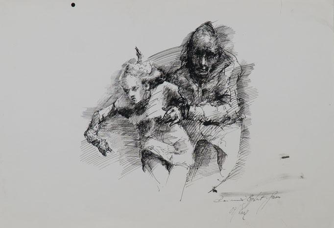 Flucht 2, 2002, 60x42 , Fineliner/Papier, S2                       ©Raimund Egbert-Giesen