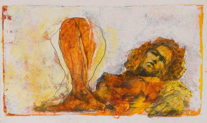 Lustvoll, 2017, 64x39, Öl/Graphit/Papier, A31                            ©Raimund Egbert-Giesen