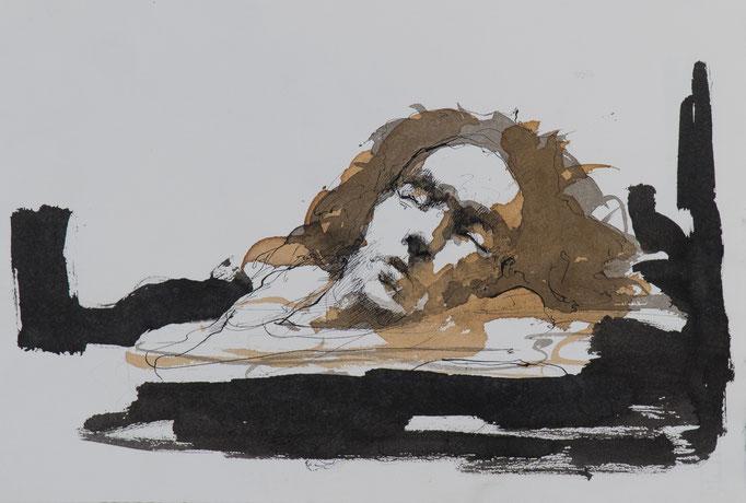 Schlaf, 2016, 39,5x27, Tusche/Papier, A15                            ©Raimund Egbert-Giesen