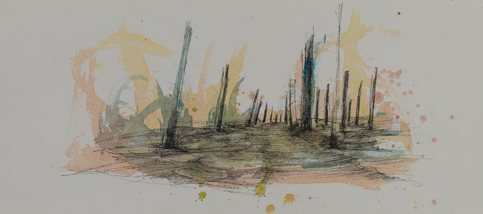 Der Weg Nr.2, 2014, 38x17, Aquarell/Bütten, N56                       ©Raimund Egbert-Giesen