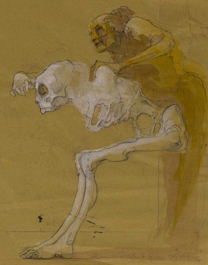 Sichtung, 2008, 35x27,5, Fineliner/Tusche/Papier, A22                            ©Raimund Egbert-Giesen