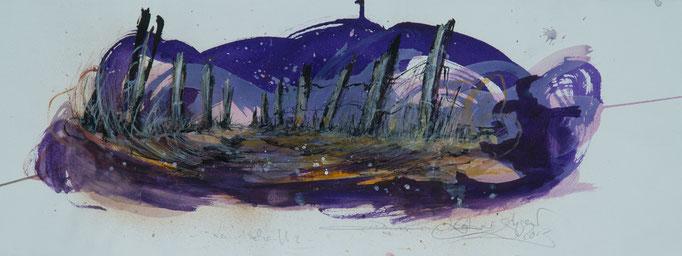Landschaft Nr.3, 2013, 77x28, Aquarell/Bütten, N40                       ©Raimund Egbert-Giesen