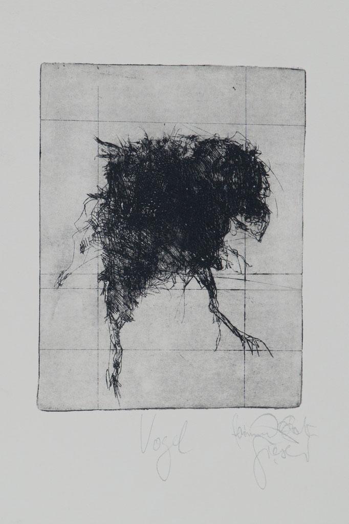 Vogel, 2003, 25x19,5 , Radierung/Bütten, R20                                  ©Raimund Egbert-Giesen