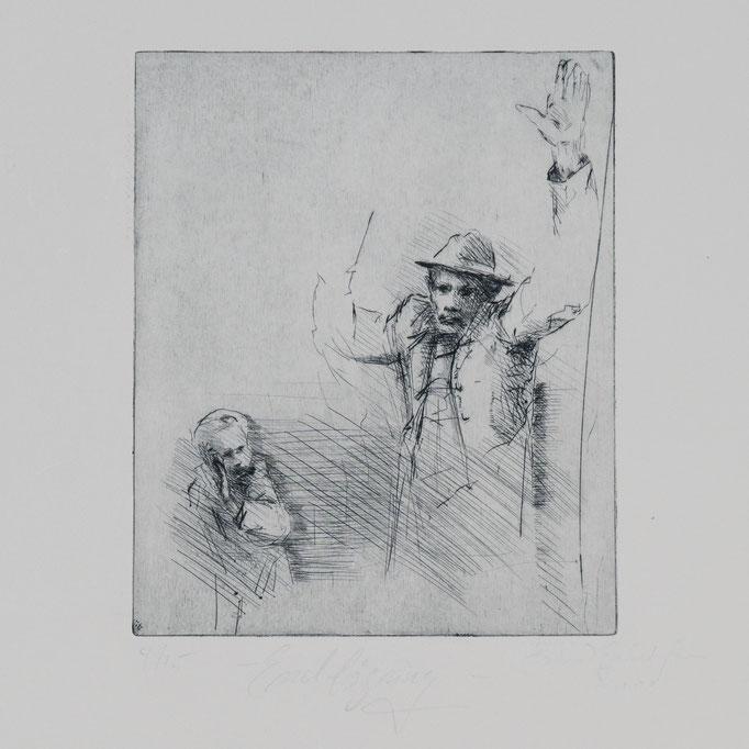 Endlösung, 2002, 22,5x18,5, Radierung/Bütten, R4                                  ©Raimund Egbert-Giesen