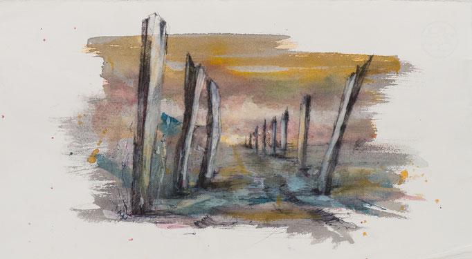 Grau, 2004, 39x21,5, Aquarell/Bütten, N23                       ©Raimund Egbert-Giesen
