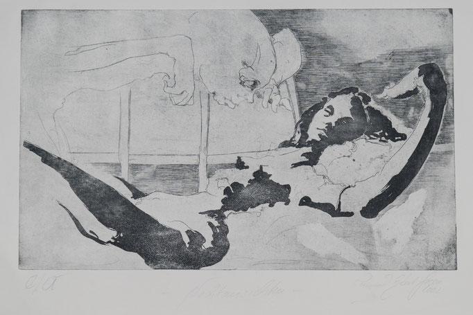 Nachtschichten, 2002, 43x26, Radierung/Bütten, R1                      ©Raimund Egbert-Giesen
