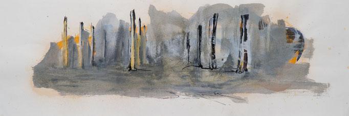 Nebel, 2014, 79x26,5, Aquarell/Bütten, N13                       ©Raimund Egbert-Giesen