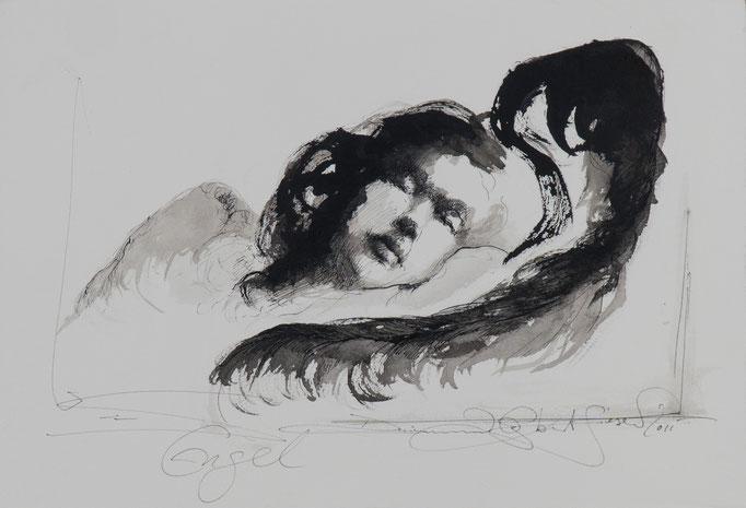 Engel, 2011, 39x27, Tusche/Bütten, A8                            ©Raimund Egbert-Giesen