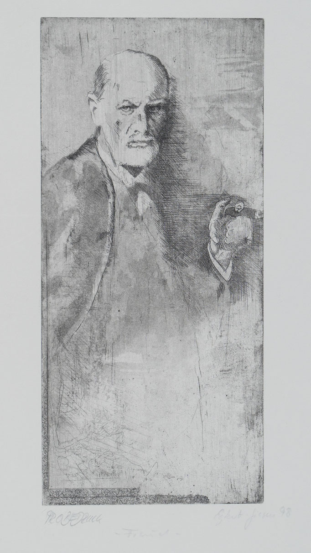 Freud, 1998, 28,5x13 , Radierung/Bütten, R8                                  ©Raimund Egbert-Giesen