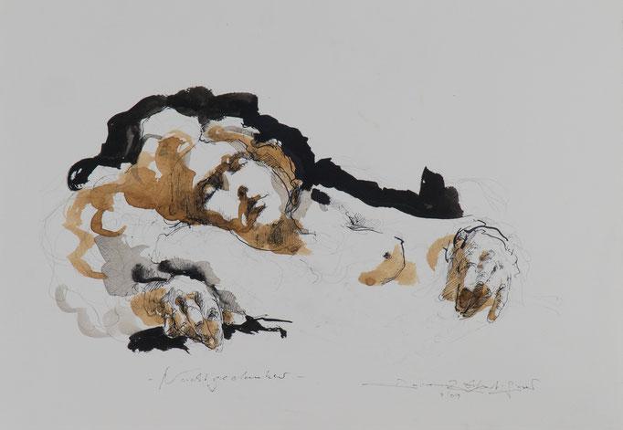 Nachtgedanken, 2009, 49x34, Tusche/Sepia/Bütten, A1                            ©Raimund Egbert-Giesen