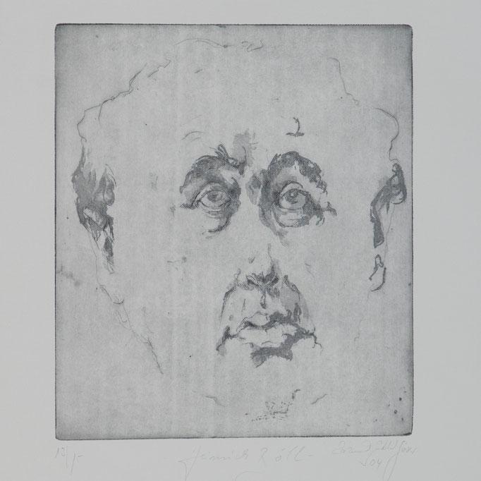 Heinrich Böll, 2004, 29,5x25,5 , Radierung/Bütten, R9                                  ©Raimund Egbert-Giesen