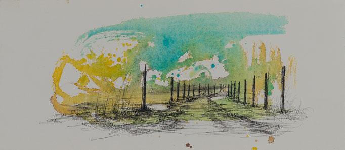 Der Weg Nr.4, 2014, 38x16,5, Aquarell/Bütten, N58                       ©Raimund Egbert-Giesen