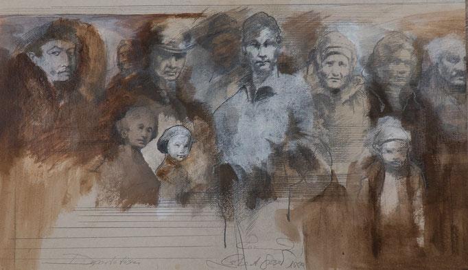 Deportation, 1999, 67x40, Graphit/Tusche/Karton, S7                       ©Raimund Egbert-Giesen