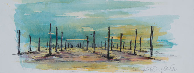 Karge Landschaft, 2017, 53x20,5, Mischtechnik/Bütten, N34                       ©Raimund Egbert-Giesen