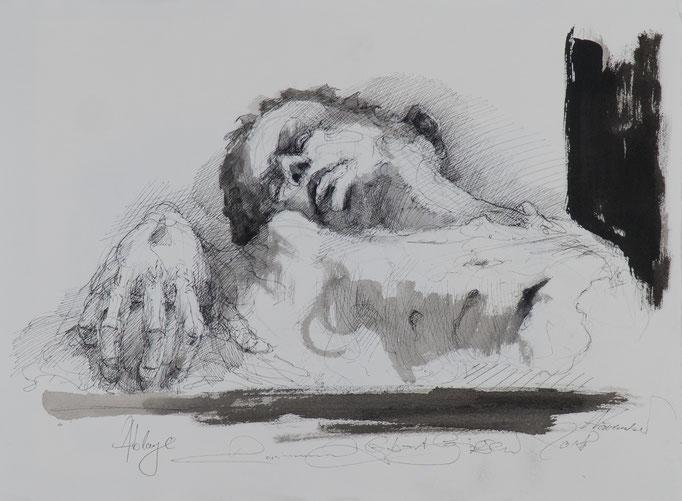 Ablage, 2018, 52x38, Tusche/Bütten, A3                            ©Raimund Egbert-Giesen