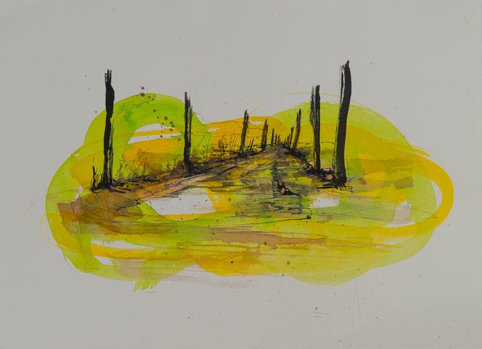 Der Weg, 2014, 54x39,5, Aquarell/Bütten, N46                       ©Raimund Egbert-Giesen