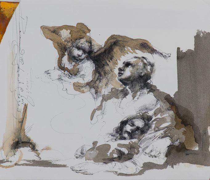 Trost, 2016, 40x34, Tusche/Bütten, A12                            ©Raimund Egbert-Giesen