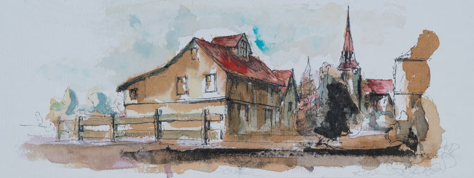 Dorf, 2018, 50x20, Aquarell, N30                       ©Raimund Egbert-Giesen