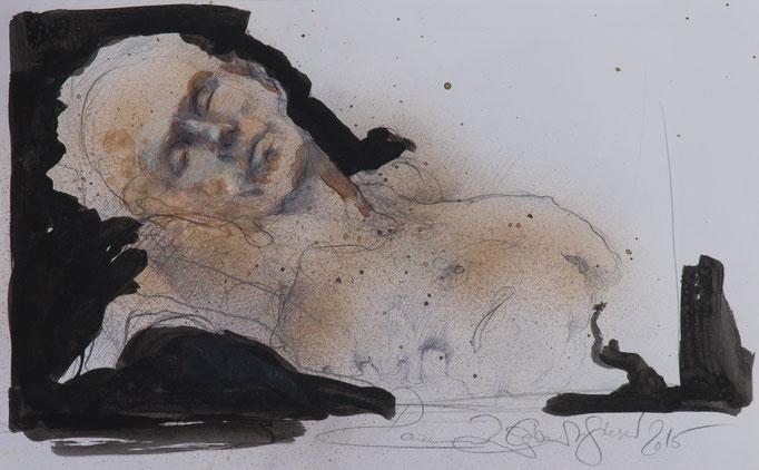 Nachtblick, 2015, 55,5x34, Tusche/Papier, A14                            ©Raimund Egbert-Giesen