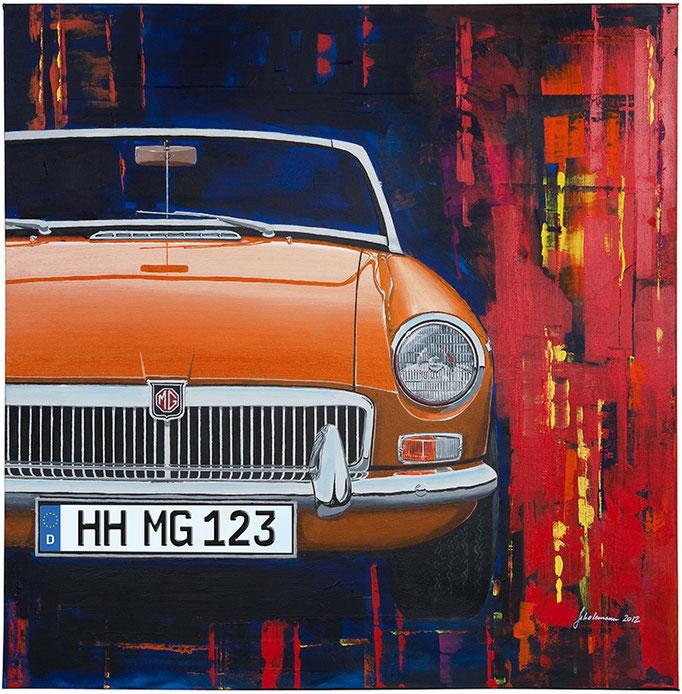 Leinwanddruck MGB orange   9 Farben zur Auswahl und frei wählbares deutsches Kennzeichen