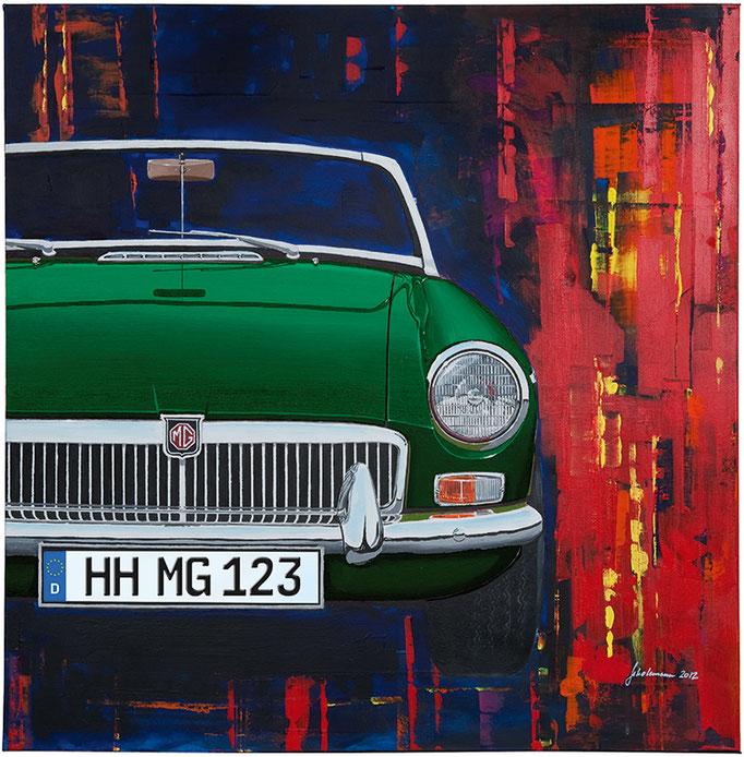 Leinwanddruck MGB grün   9 Farben zur Auswahl und frei wählbares deutsches Kennzeichen