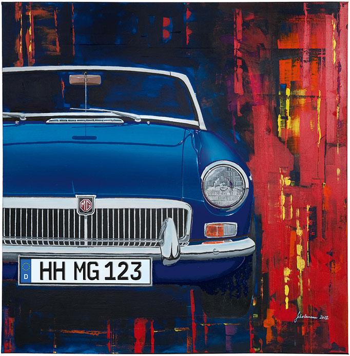 Leinwanddruck MGB dunkelblau   9 Farben zur Auswahl und frei wählbares deutsches Kennzeichen