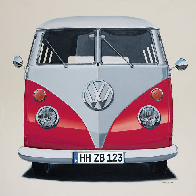 VW Bus rot Leinwanddruck