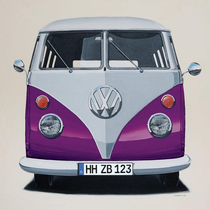 VW Bus violett Leinwanddruck