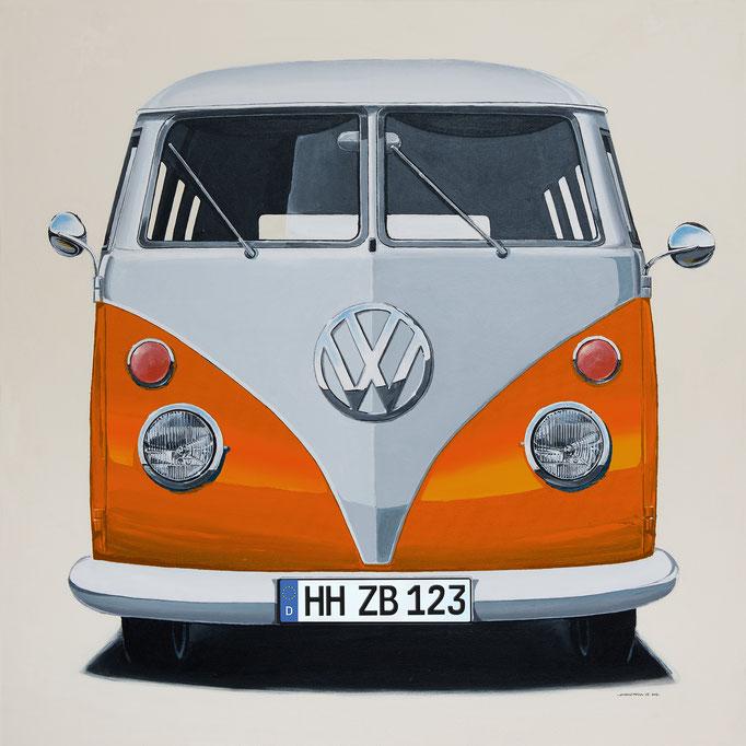 VW Bus orange Leinwanddruck
