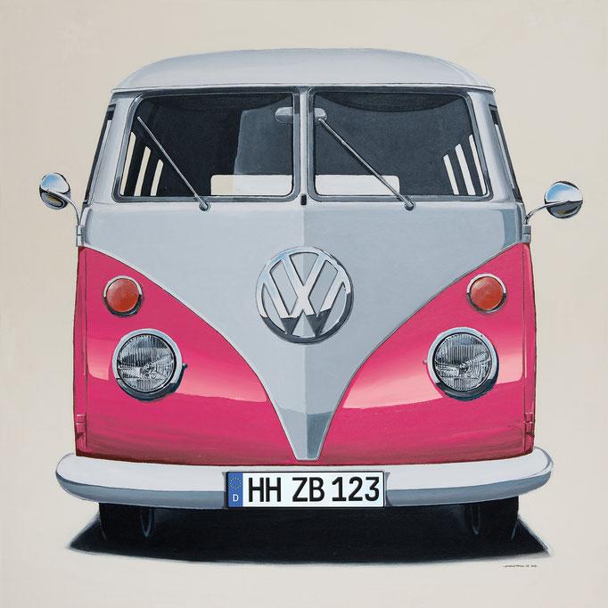 VW Bus pink Leinwanddruck