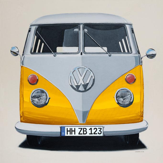VW Bus gelb Leinwanddruck