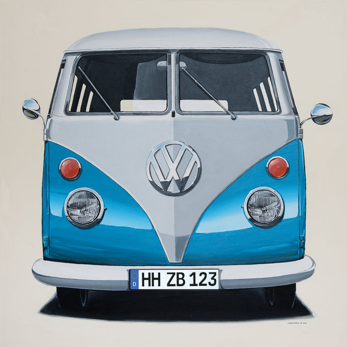 VW Bus hellblau Leinwanddruck