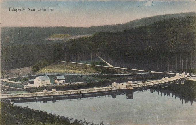 Wünschendorf Erzgebirge kleine Talsperre um 1909  Karte: Archiv Teichler