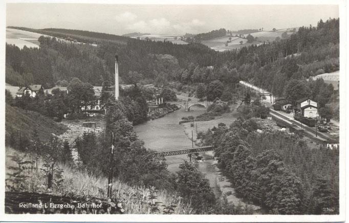 Wünschendorf Erzgebirge Bahnhof um 1937   Karte: Archiv Teichler