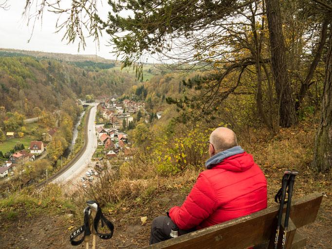 Bild: Verdiente Verschnaufpause mit Blick auf Rübeland