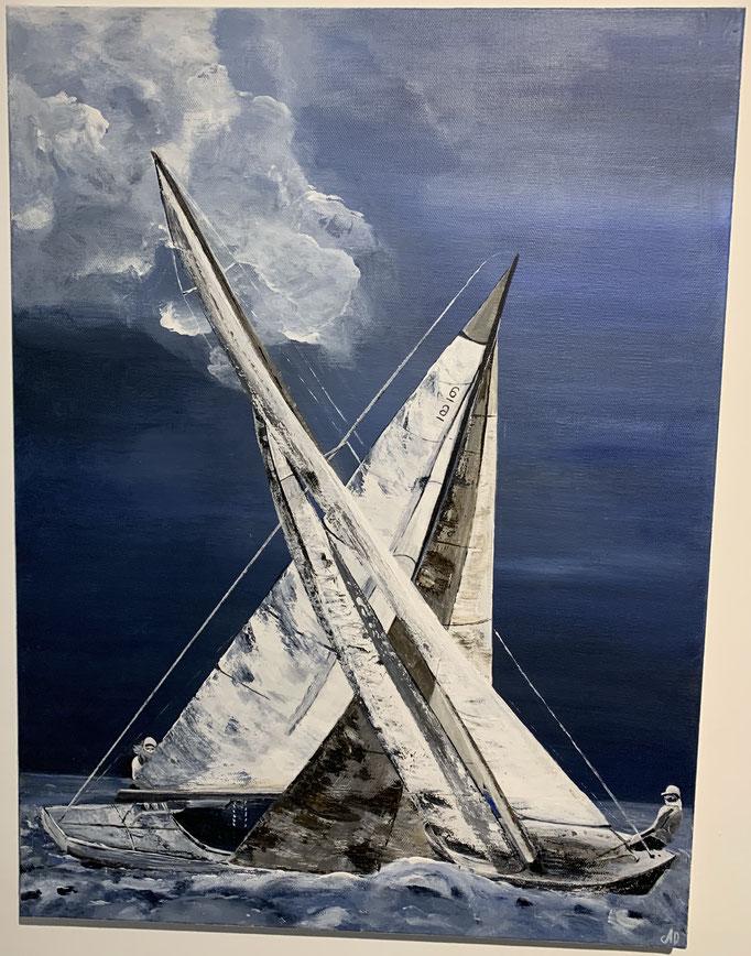 N° 04 Il y a du vent dans les voiles          Anne Bernou           Acrylique