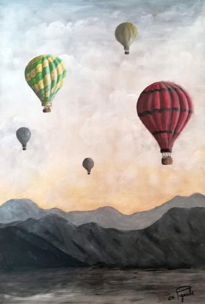 N° 05 Dans les airs en mongolfière        Christiane Pigache          Acrylique