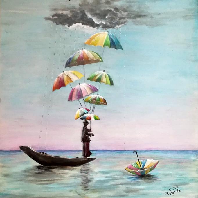N° 06 En mer sous les parapluies          Christiane Pigache          Acrylique