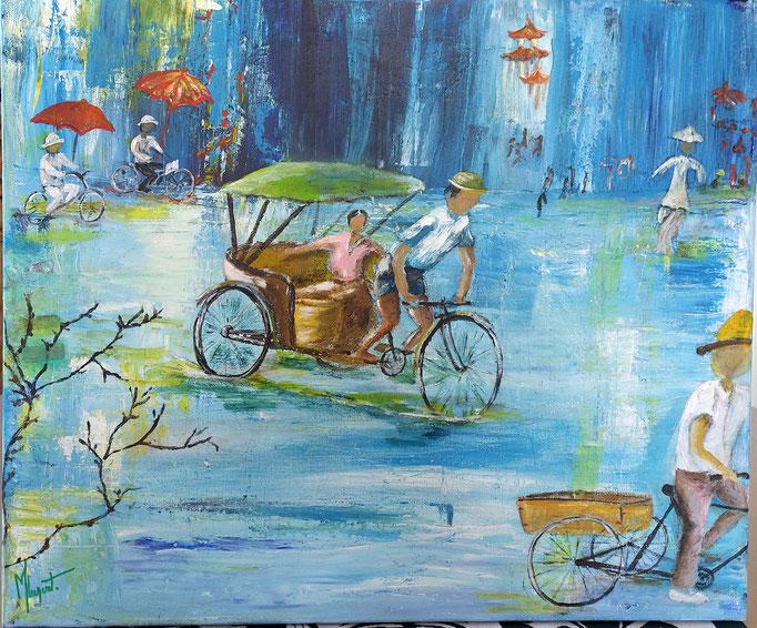 N° 18 Je vais me promener en Chine            Martine Luquet         Acrylique