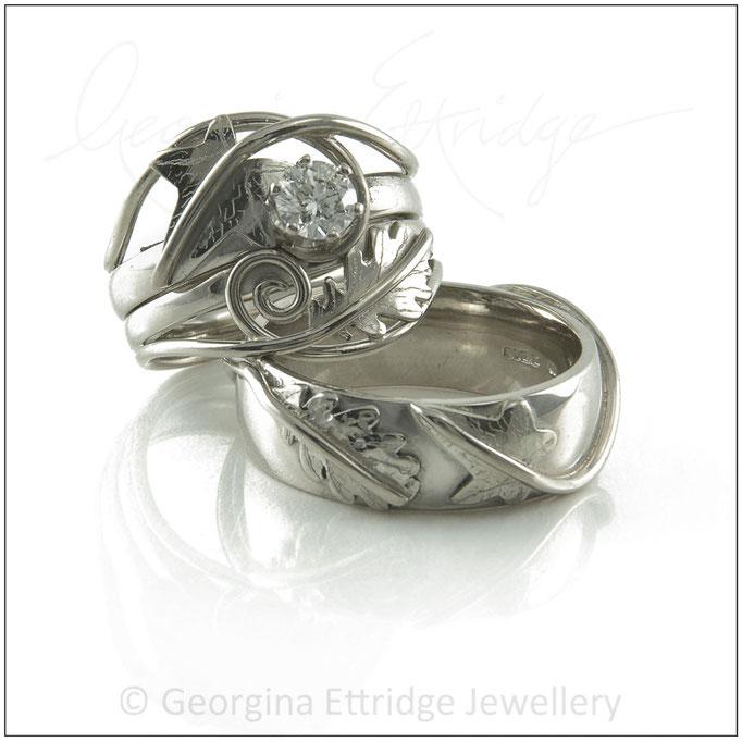 Ivy Leaf & Curled Tendril Rings Bridal Set