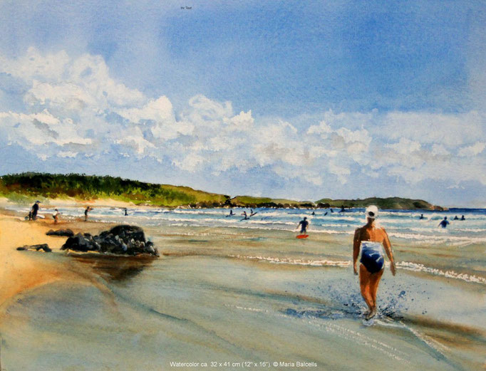 SURFING DAY AT THE BEACH - AQUARELL