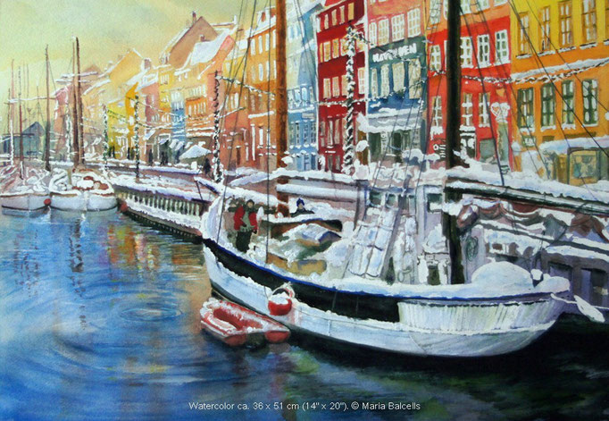KOPENHAGEN IM WINTER - AQUARELL